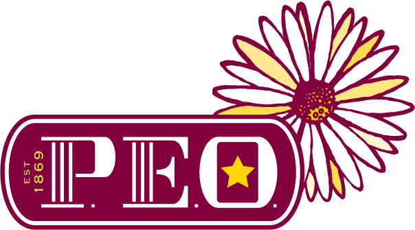 Logo for P.E.O., International with white and yellow daisy